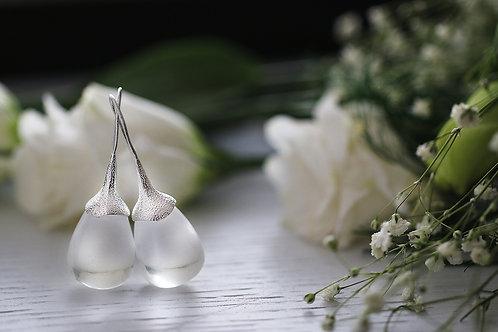 Серьги-желуди с  горным хрусталем в серебре