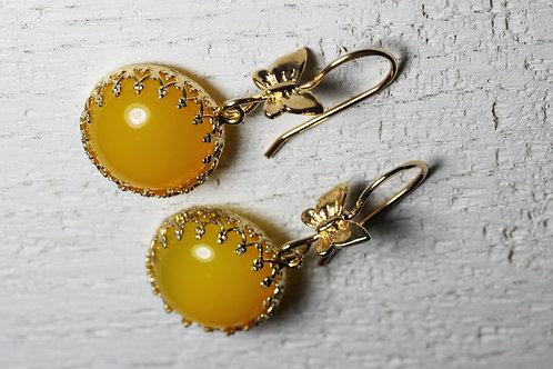 Серьги-бабочки с желтым агатом