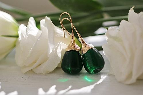 Серьги-желуди с зеленым горным хрусталем