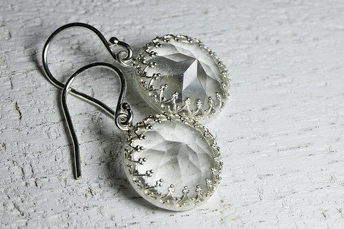 Серебряные серьги с кварцем