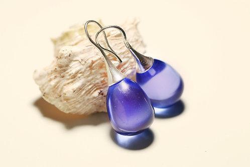 Серебряные серьги-желуди с фиолетовымгорным хрусталем