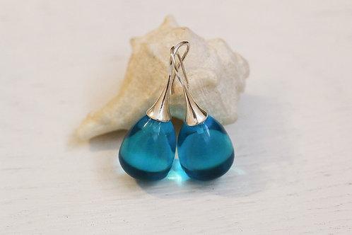 Серьги-желуди с голубым горным хрусталем в серебре