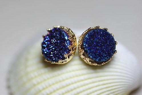 Позолоченные серьги-гвоздики с синими друзами кварца