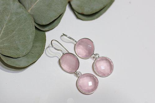 Двойные серебряные серьги с розовым кварцем