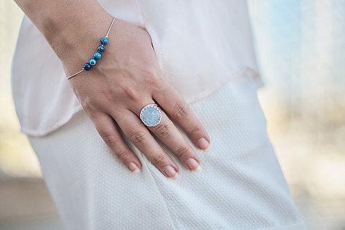 Круглое серебряное кольцо с аквамарином