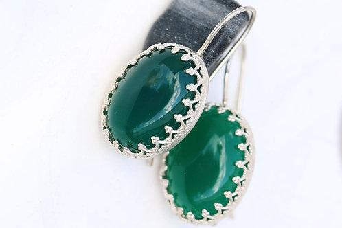 Овальные серебряные серьги с зеленым агатом