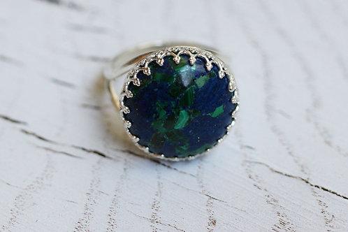 Круглое серебряное кольцо с азуритом