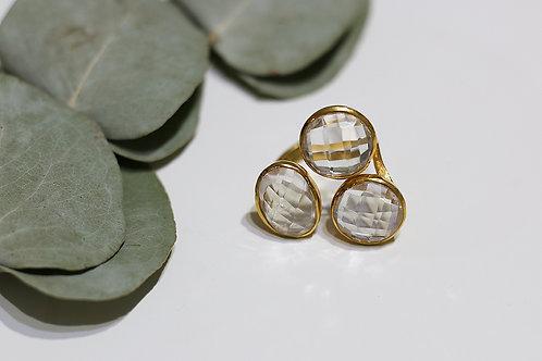 Тройное позолоченное кольцо с горным хрусталем