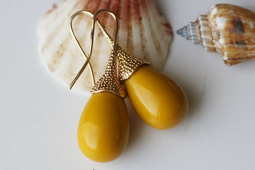 Серьги-желуди с желтой майоркой