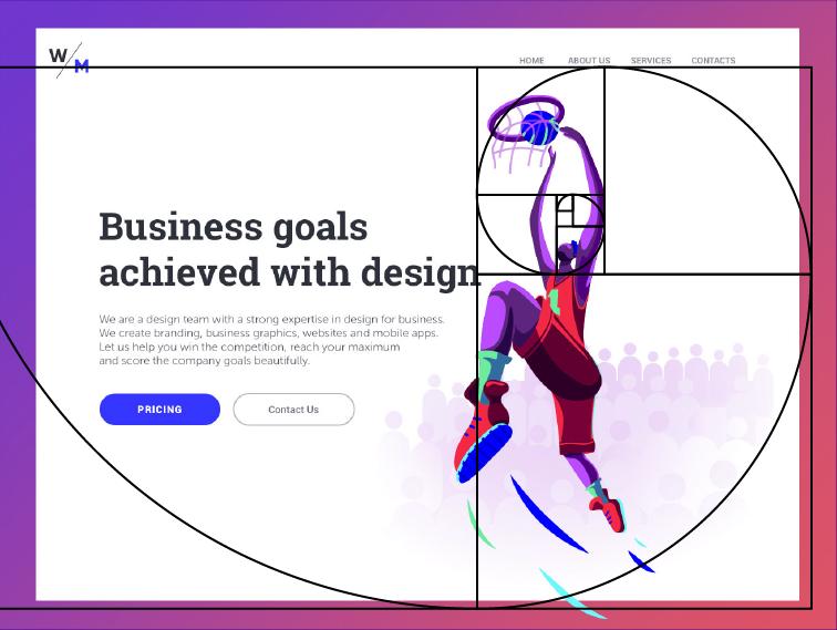 Web design golden ratio example