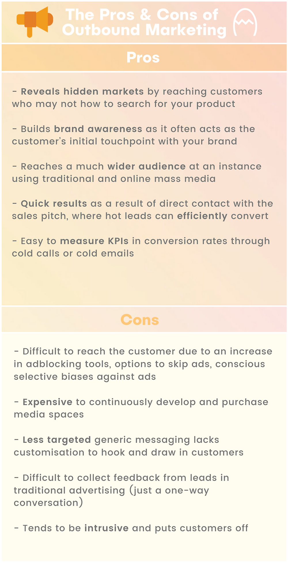 Pros and cons of outbound marketing