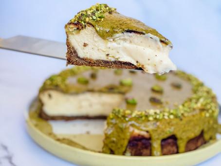 Tarta de queso de pistacho