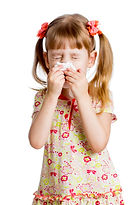 Child Girl Wiping Or Cleaning Nose With