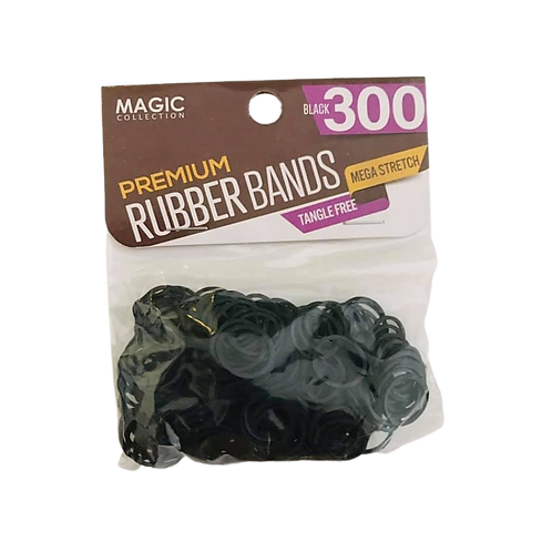 Magic Collection Premium 300 Black Rubber Bands Mega Stretch