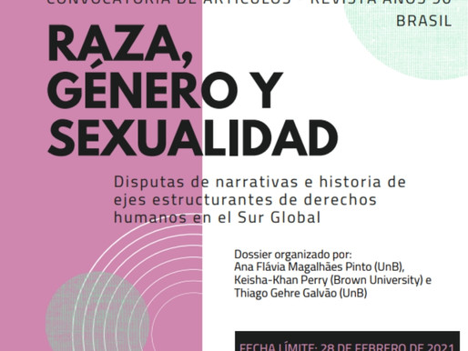"""presentación de artículos del dossier """"RAZA, GÉNERO Y SEXUALIDAD"""