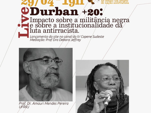 "Live:  ""20 ANOS DA III CONFERENCIA MUNDIAL CONTRA O RACISMO"