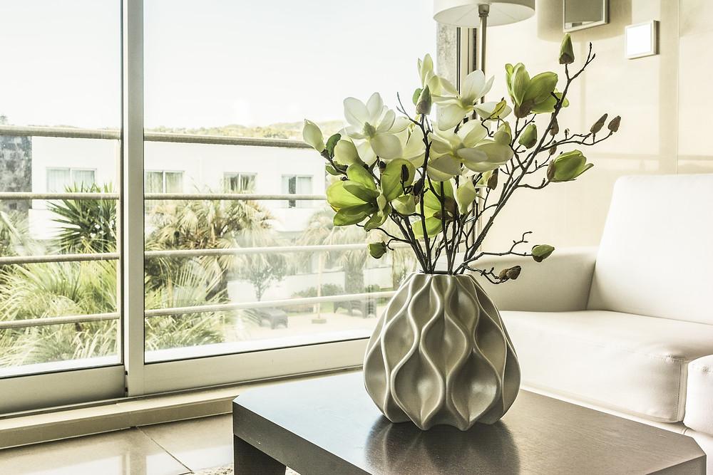 fragile vase painted walls living room