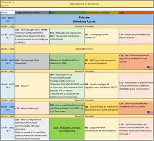 agenda coloré sessions évènement