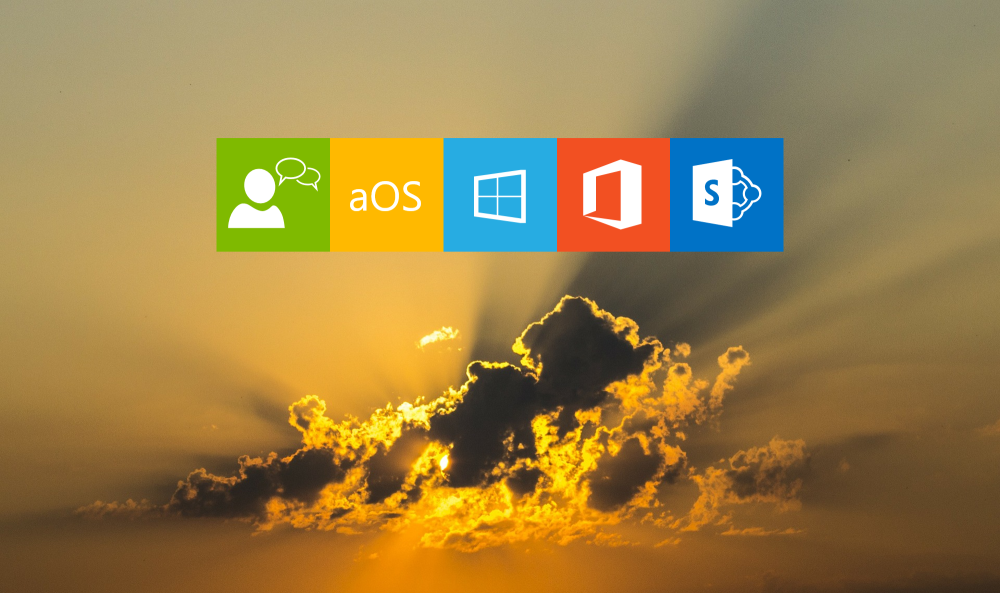 Ciel nuageux et soleil, jaune orange, logo conversation, aOS, windows, Office 365, SharePoint