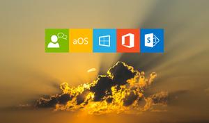 Ciel nuageux et soleil, jaune orange, logo conversation, aOS, windows, Office 365, SharePoint