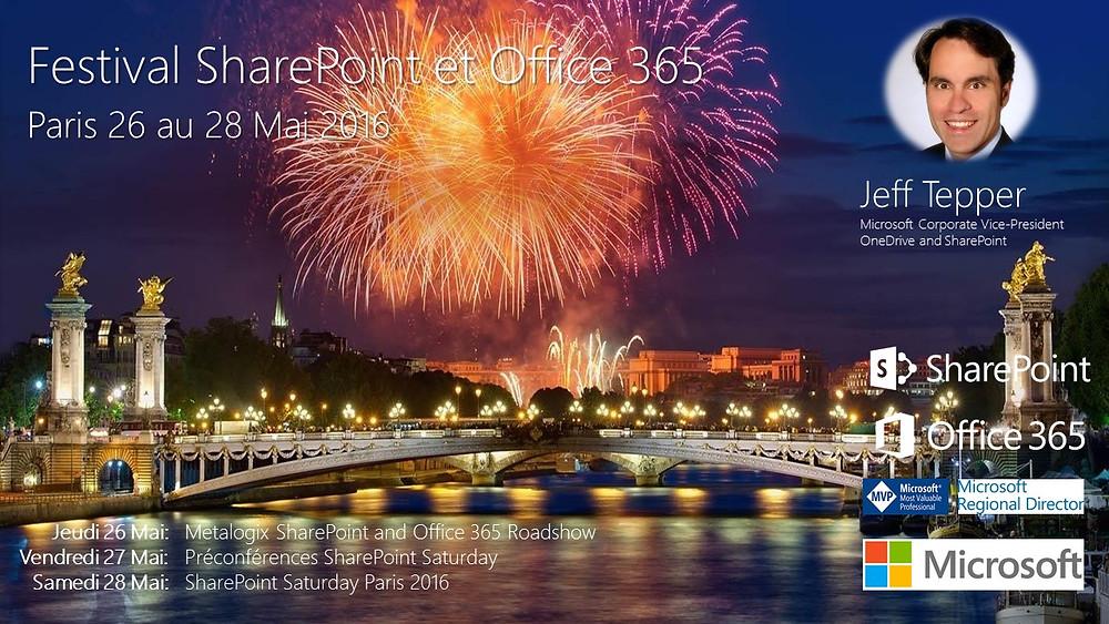 Pont Alexandre III Paris, feu d'artifice, Seine, Jeff Tepper, logo SharePoint, Office 365, MVP, MRD, Microsoft