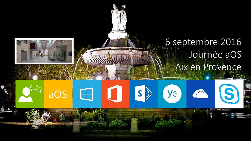 fontaine Aix en Provence, icônes Office 365