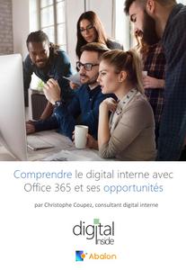 """hommes et femmes regroupées autour d'un écran d'ordinateur, travail collaboratif, couverture livre blanc """"comprendre le digital interne avec Office 365"""""""