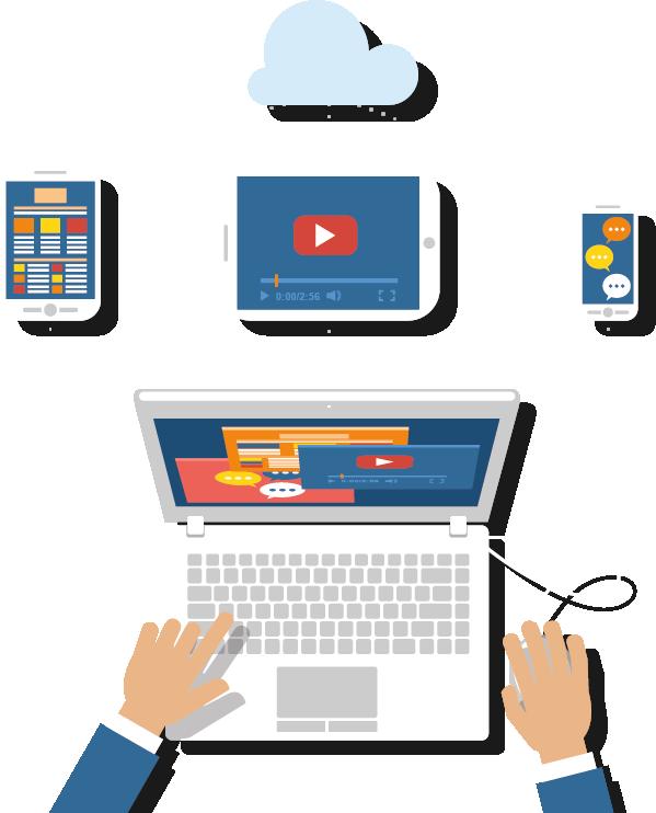 Objets graphiques connectés : smartphone, tablette, ordinateur, nuage