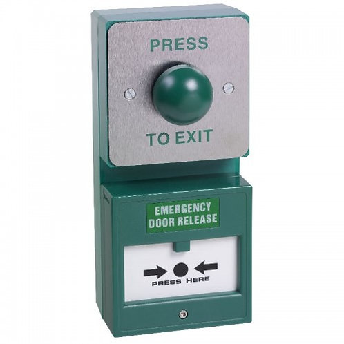 DU04/CP22- Dual Unit. Green Dome Exit Button And Resettable Double Pole Break Gl