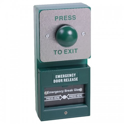 DU04/KGG1SG- Dual Unit. Green Dome Exit Button And Single Pole Break Glass