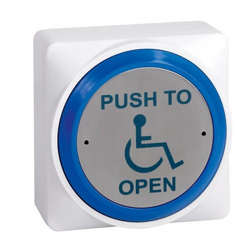 SPB020S -White Plastic Button – Blue Rim