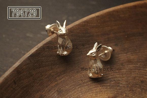 MW E1005 The Sitting Bunnies 925 Silver Earrings