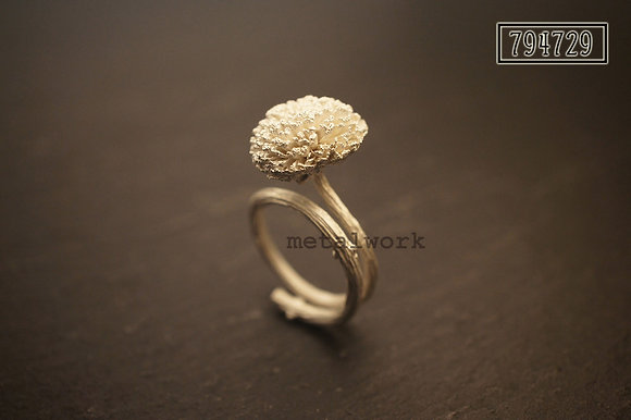 MW R1025 The 925 Silver Pom Pom Mums Ring