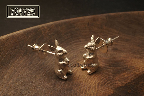 MW E1006 The Standing Bunnies 925 Silver Earrings