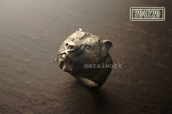 MW R1032 The 925 Silver Bear Head Ring