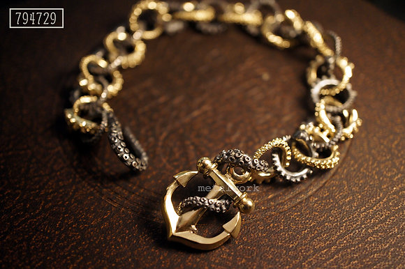 MW B1002 Octopus tentacles bracelet with anchor
