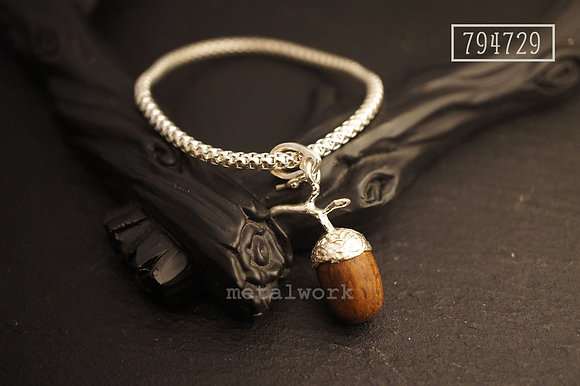 The 925 Silver and Wood Acorn (Medium) Bracelet