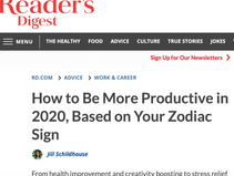 From Reader's Digest: How to Be More Productive, Based on Your Zodiac Sign