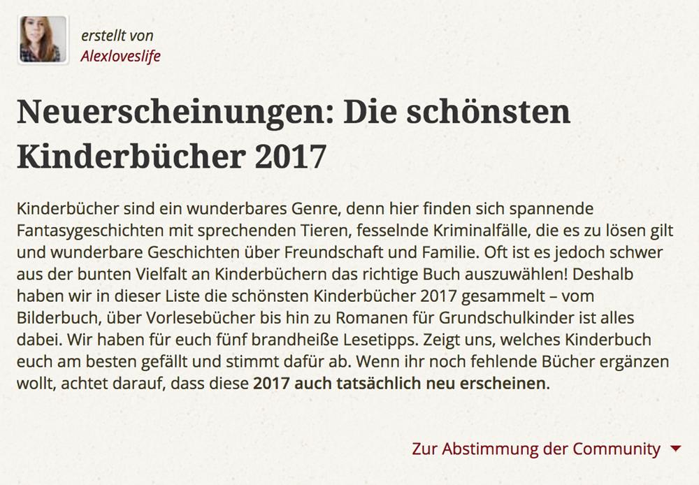 Bücherliste Kinderbuch Neuerscheinungen 2017