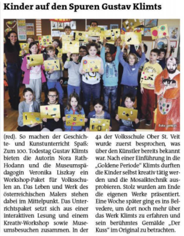 BEZIRKSZEITUNG Hietzing - Bericht Klimt Workshop Schulen