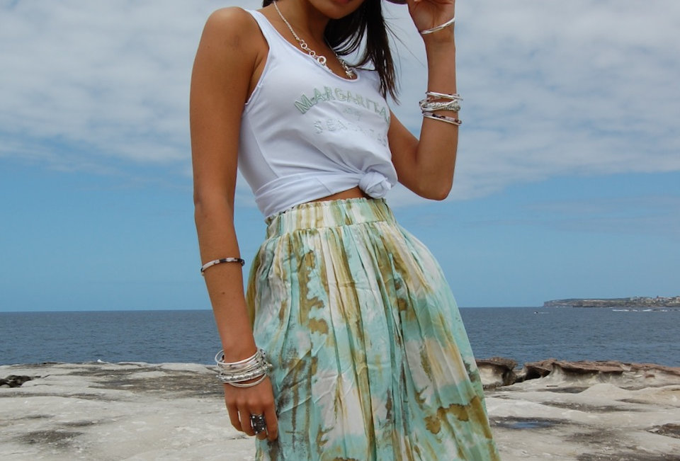 Cute blue & green tie dye style midi skirt  Elastic waist Easy Comfy fit Lightweight 100% Polyester REFUGE