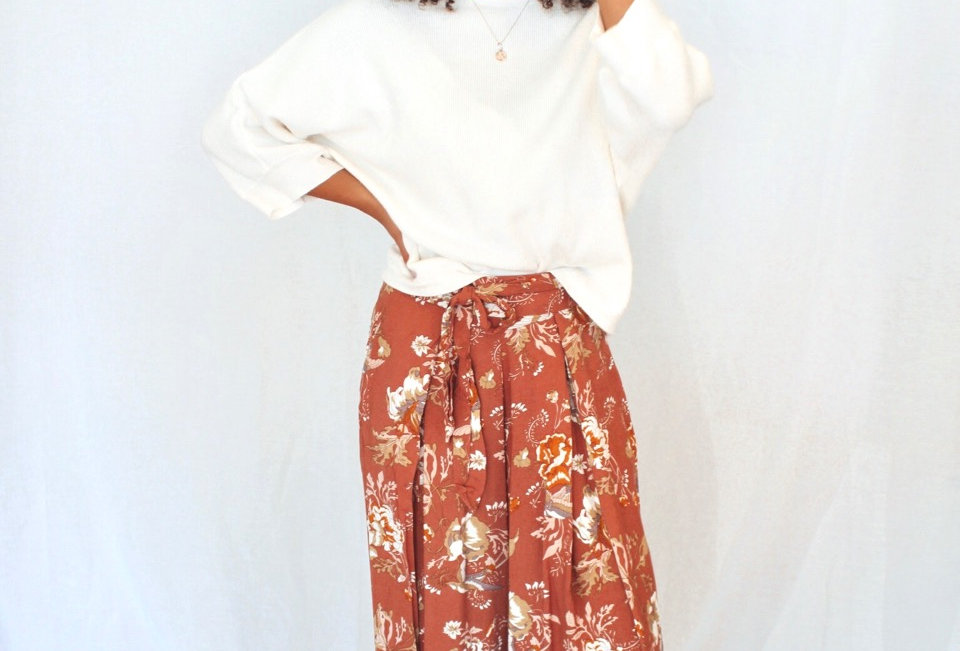 floral culottes loose fit cotton style ties at front elastic back wide leg