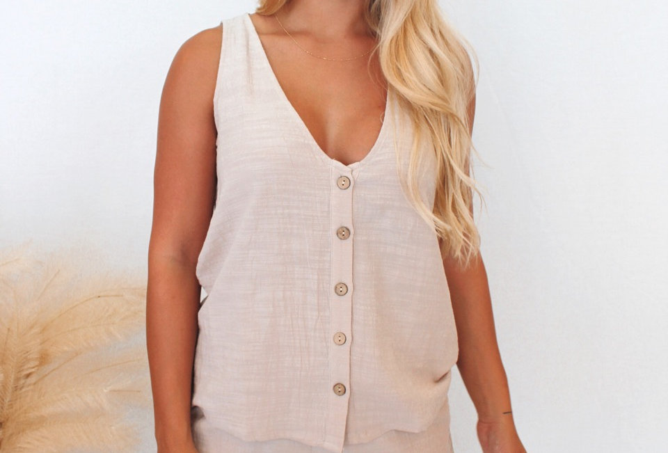 Top and Shorts Cute style Beige colour Wooden buttons on front of top V neck Elastic waist on shorts
