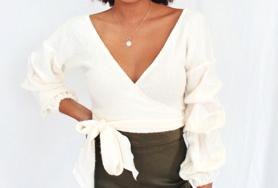 cream knit wrap top v neck ties at side gathered sleeve 25564d01 here comes the sun