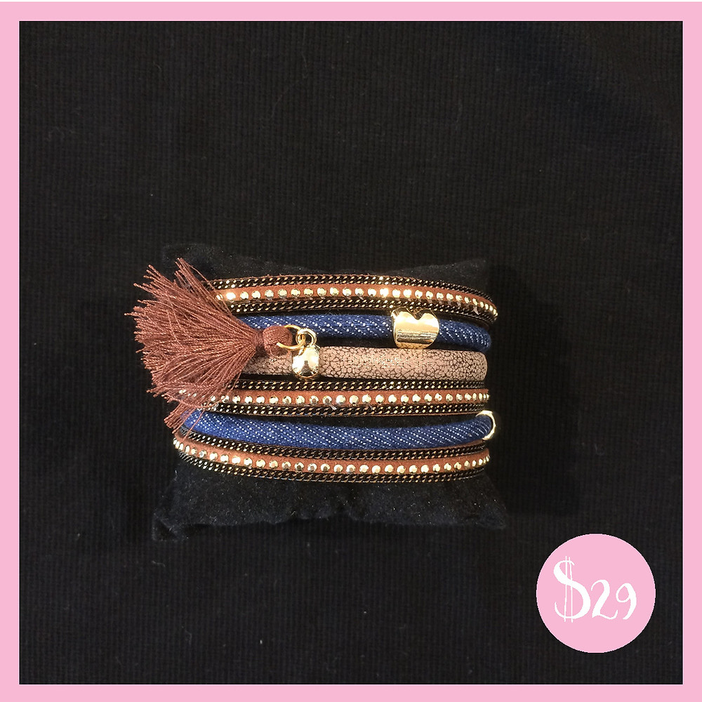 Tan and Blue Beaded and Jeweled Tassle Bracelet from Shine Boutiques Sunshine Coast