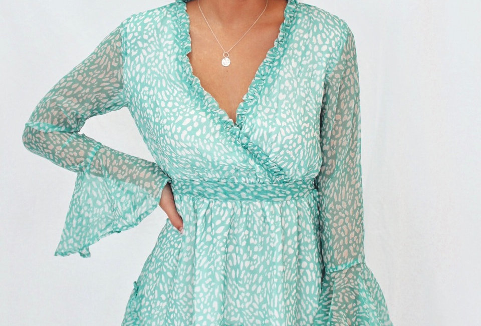 mint coloured patterned mini dress v neck waist tie elastic waist sheer sleeves shareen collections 75000-5