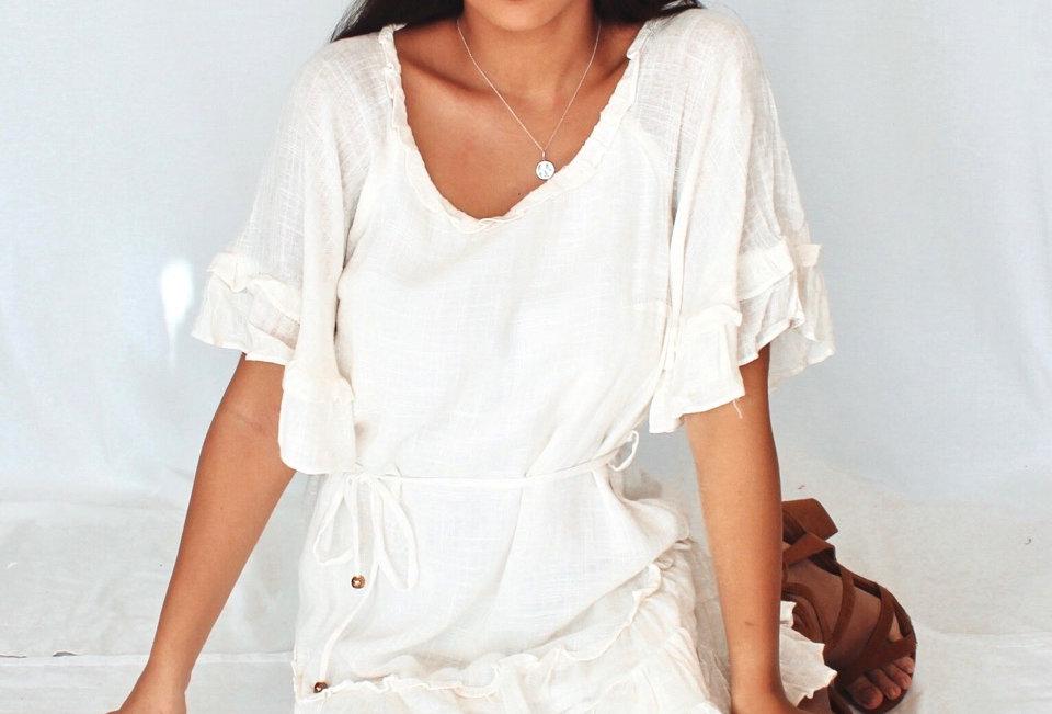 white linen dress circle neckline 3/4 sleeve waist tie