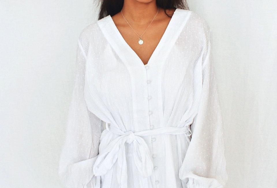 white sheer mini dress buttons down front v neck blouse sleeve