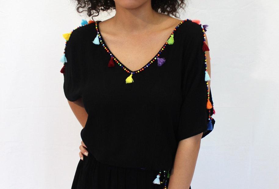 Festival Dress Black Tassel Bead Detail