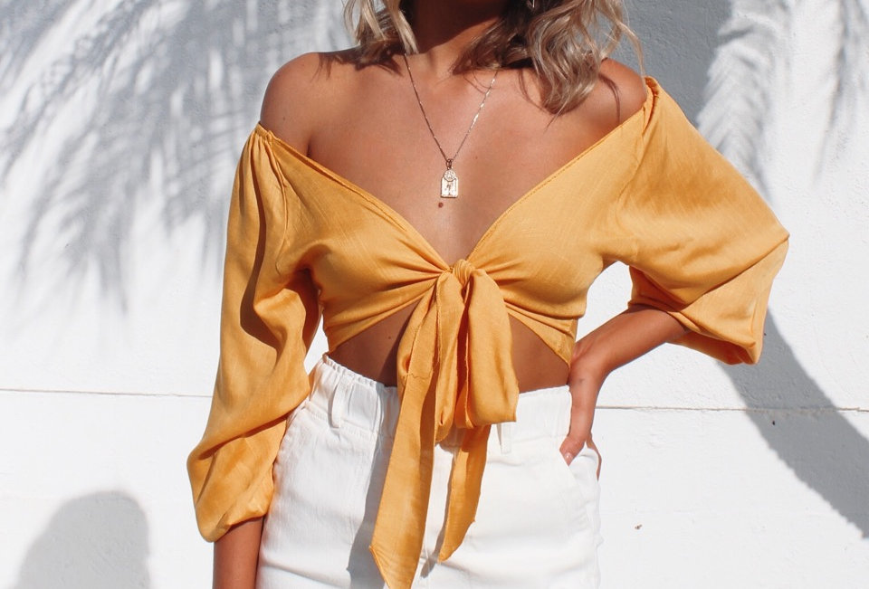 cute mustard tie at front top can be worn off or on the shoulder